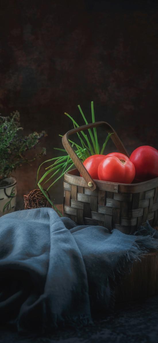 番茄 水果 编织篮 食材