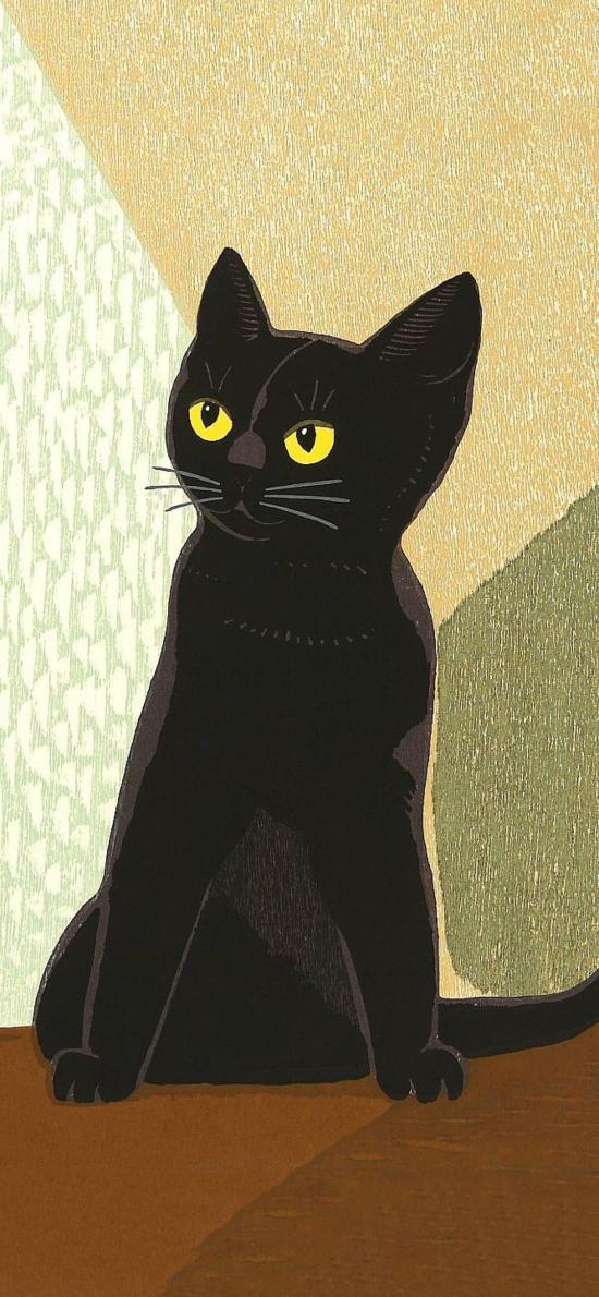 插画 猫咪 黑猫 可爱