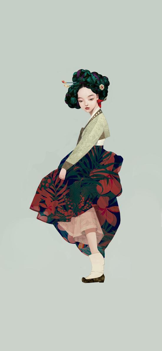 插图 朝鲜女孩 民族 异域