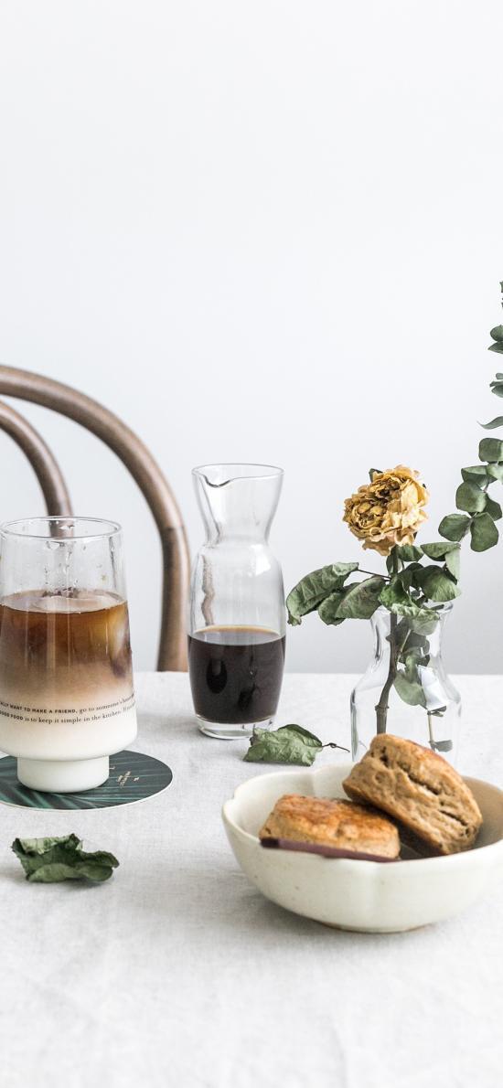 点心 下午茶 咖啡 干花 食物 糕点
