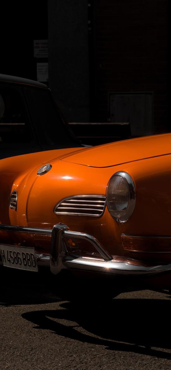 汽车 复古 车头 怀旧 老爷车 橘色