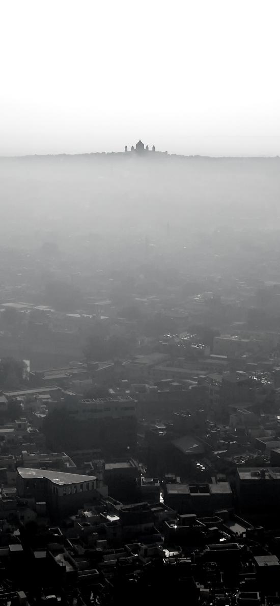 城市 黑暗 地平线 朦胧