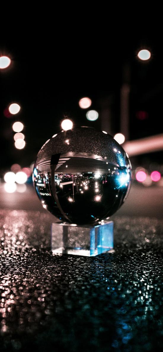 玻璃球 影射 球體 路面