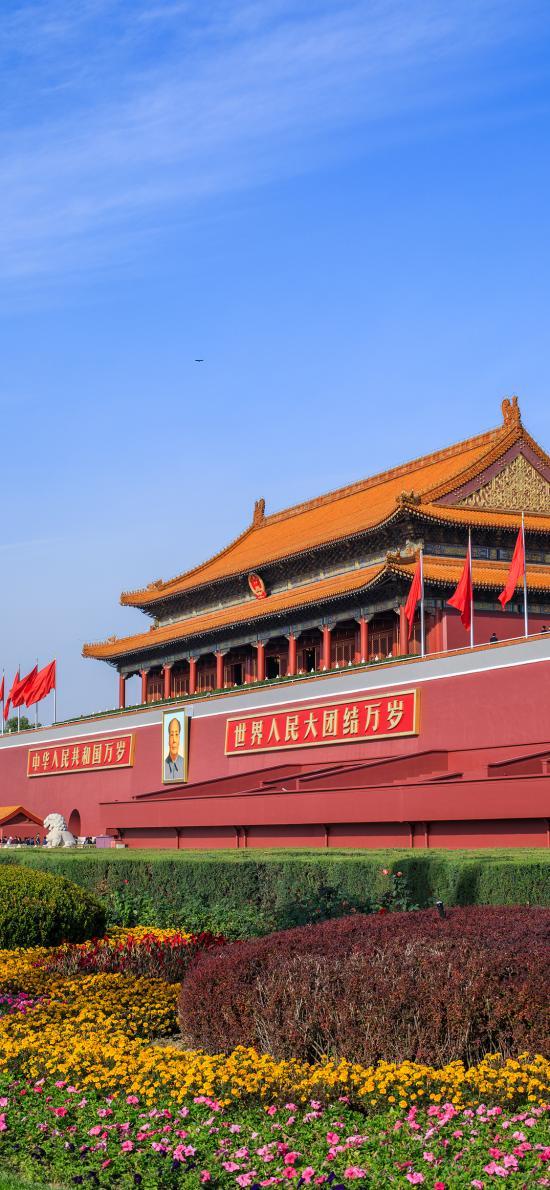 景色 天安門 花圃 北京 建筑