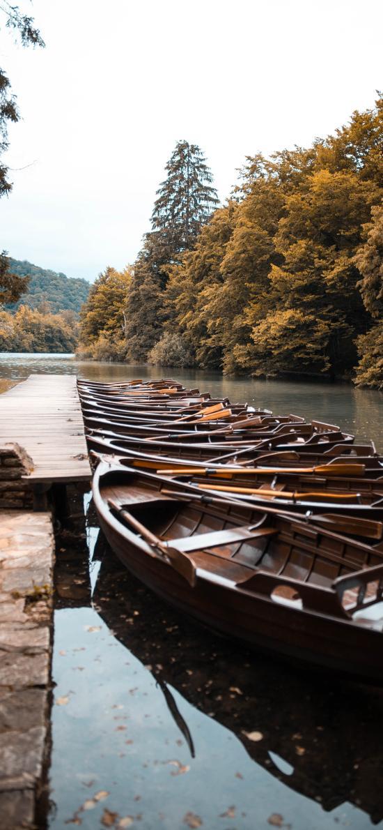 湖岸 船只 木船 碼頭