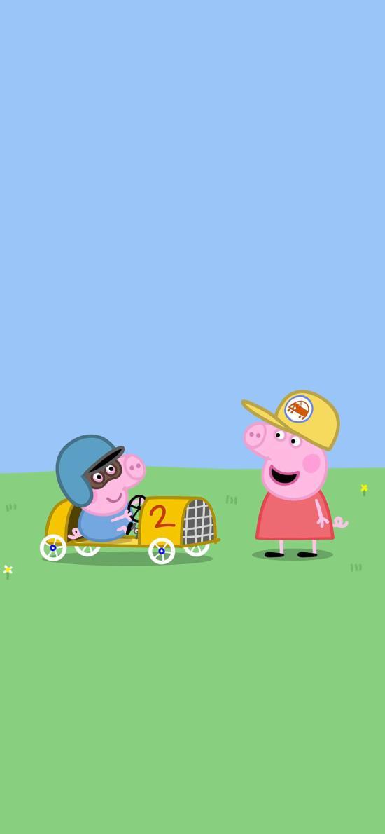 小猪佩奇 蓝色 卡通 动画 驾驶