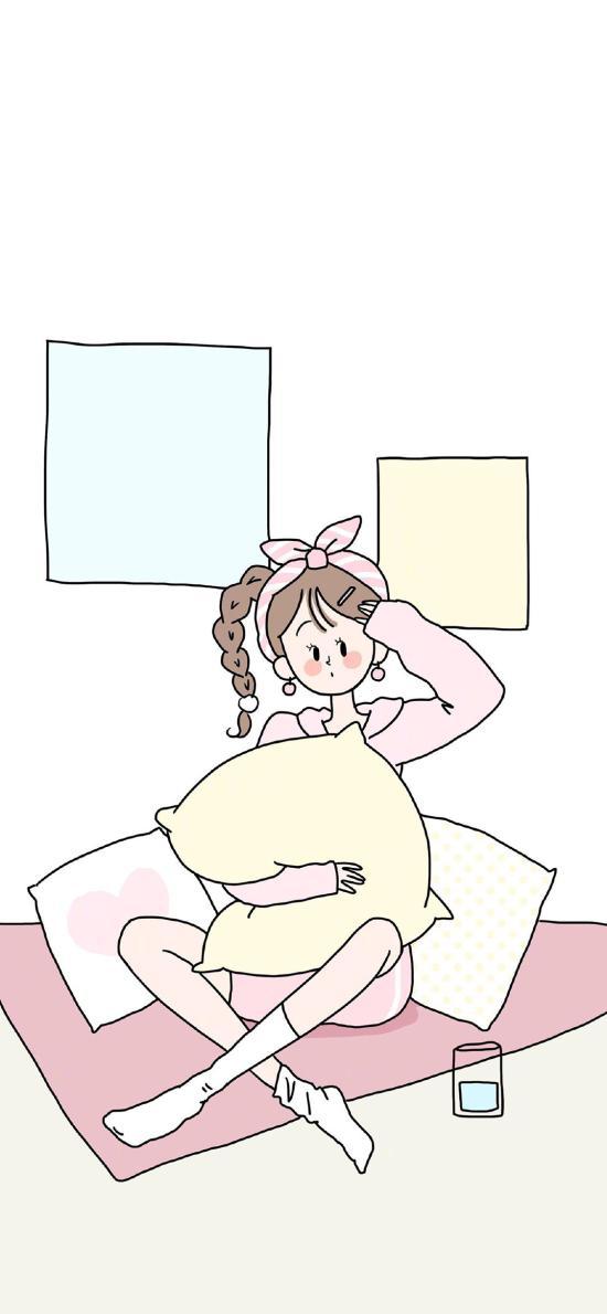 女孩 插畫 枕頭 睡衣
