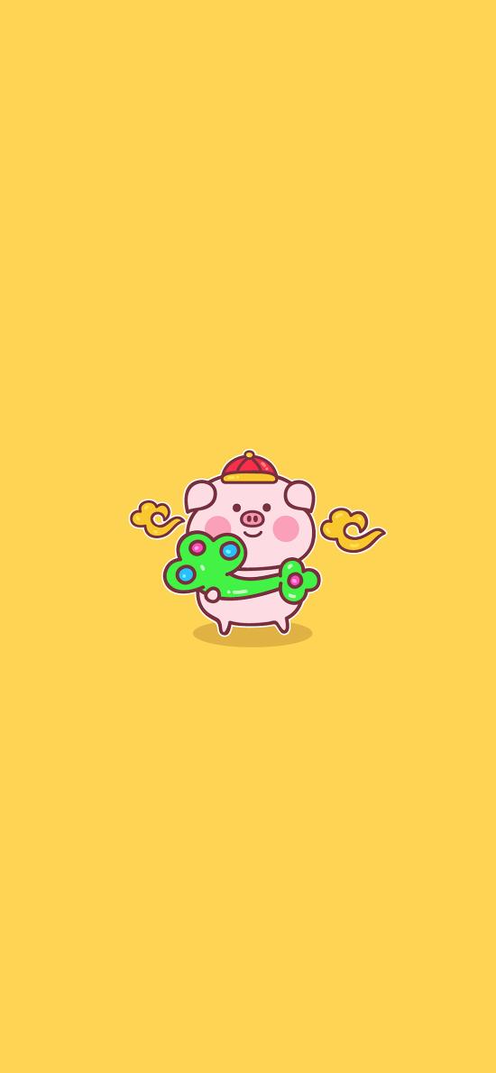 豬 可愛 如意 黃色 新年