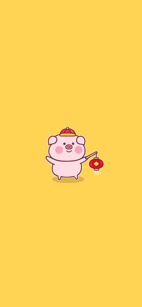 豬 可愛 燈籠 黃色 新年