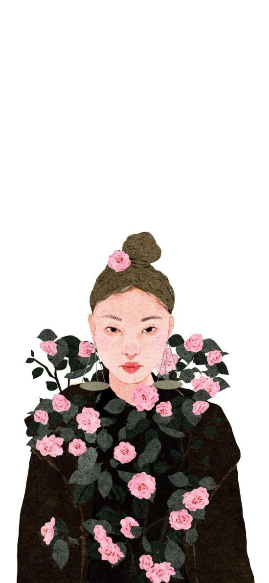 女孩 鮮花 玫瑰 插畫