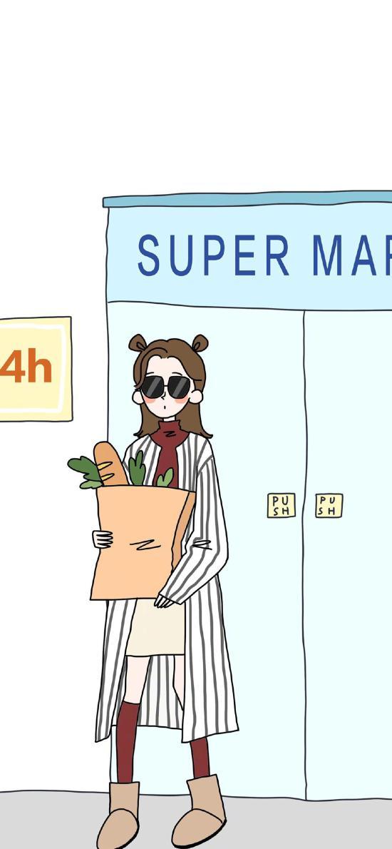 女孩 插畫 超市 購物
