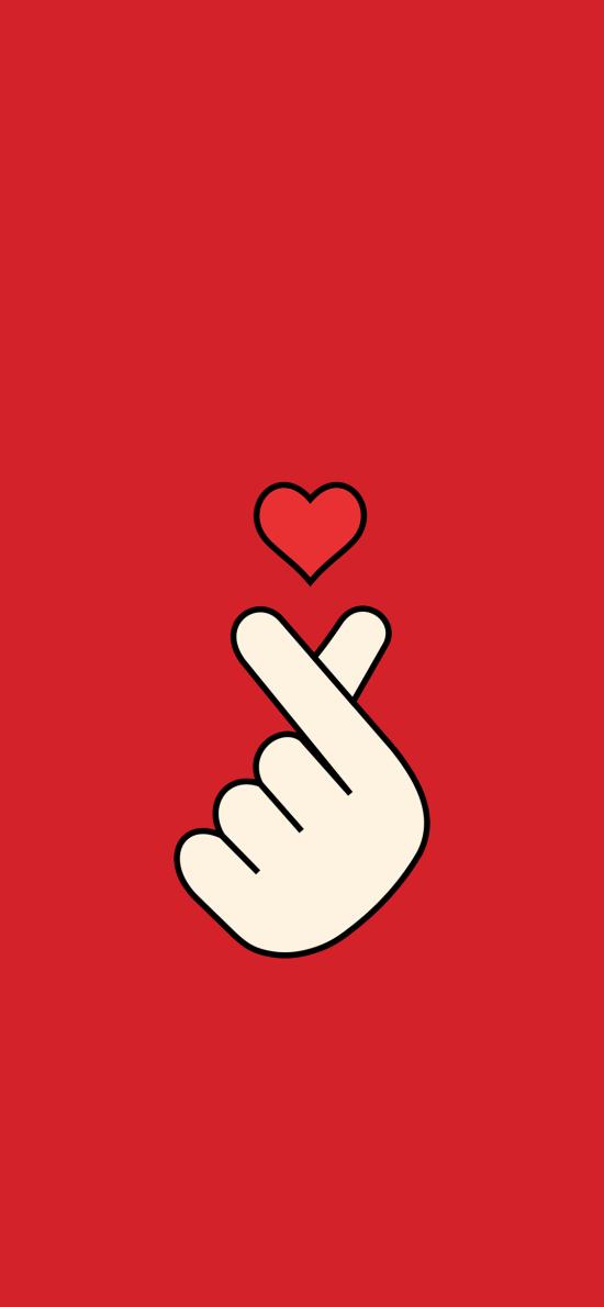 比心 手勢 愛心 紅色