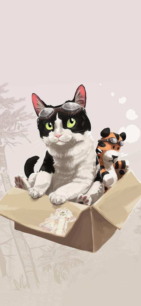 貓咪 插畫 手繪 紙箱