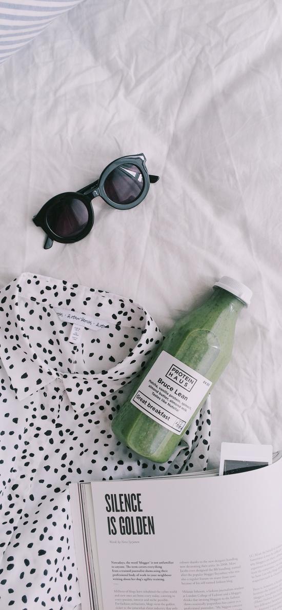 蔬菜汁 飲品 健康 雜志 墨鏡