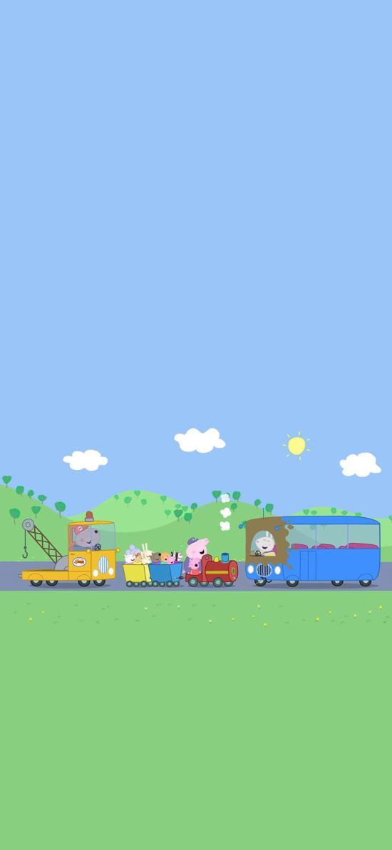 小豬佩奇 卡通 動畫 公路 車輛