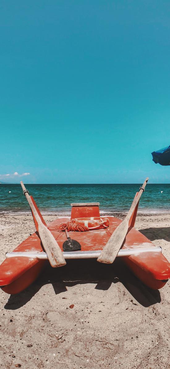 沙灘 船 海灘 大海 船槳