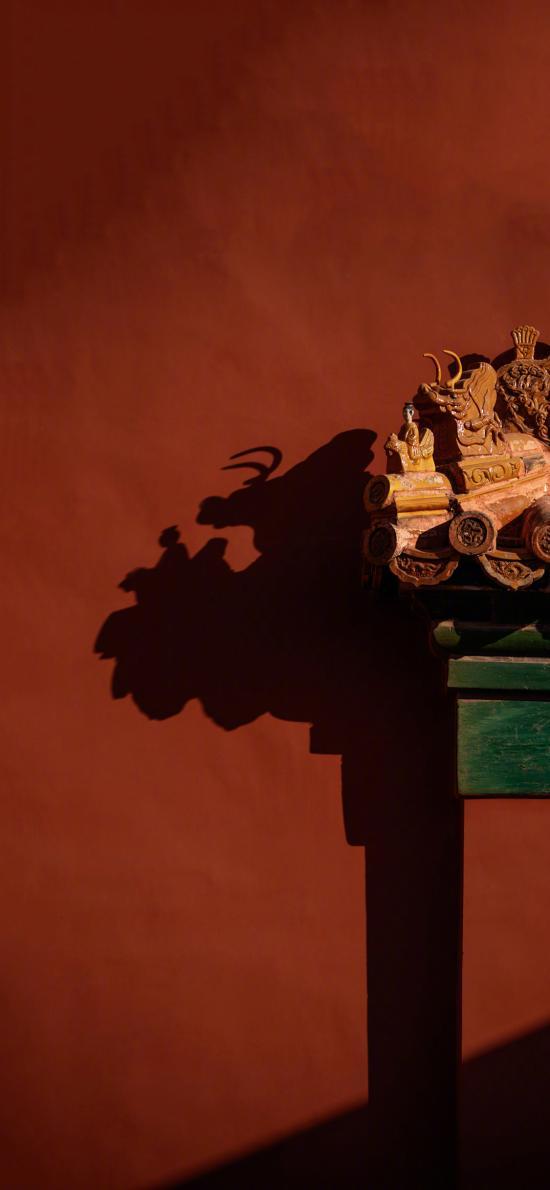 宮 建筑 屋檐 紅色 影子