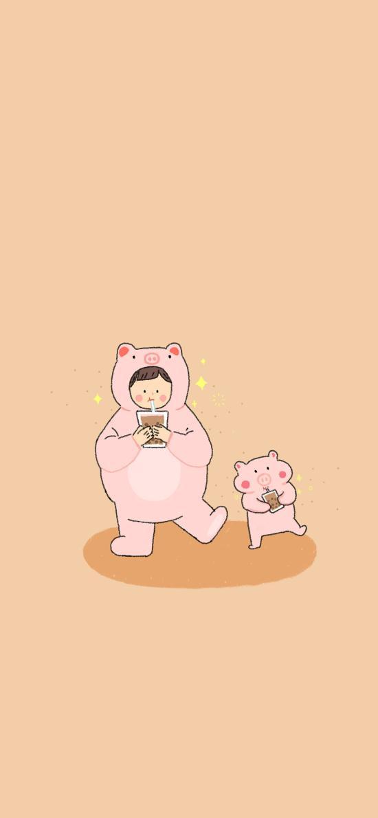 豬豬女孩 可愛 插畫 珍珠奶茶