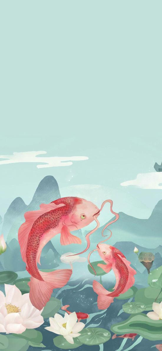 錦鯉 插畫 粉色 好運