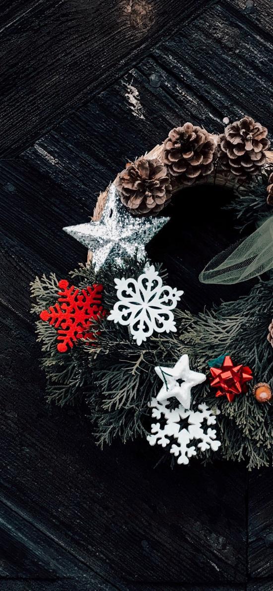 花圈 編織 松果 雪花 星星 裝飾