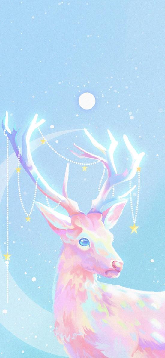 馴鹿 插圖 色彩 夢幻