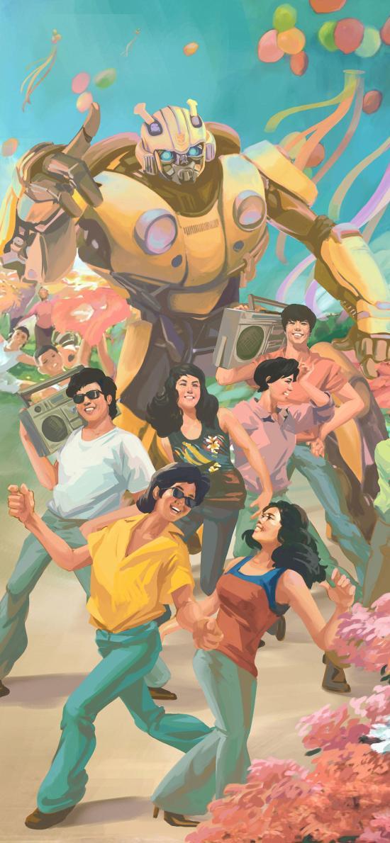 大黃蜂 宣傳海報 復古 機器人 電影 慶祝 蹦迪