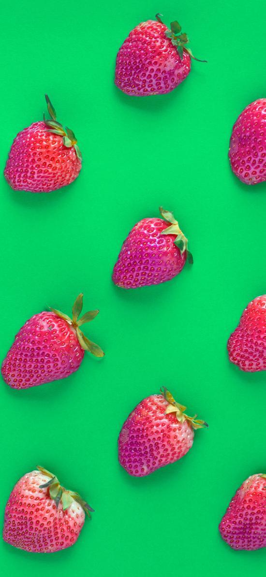 草莓 水果 平鋪 綠色