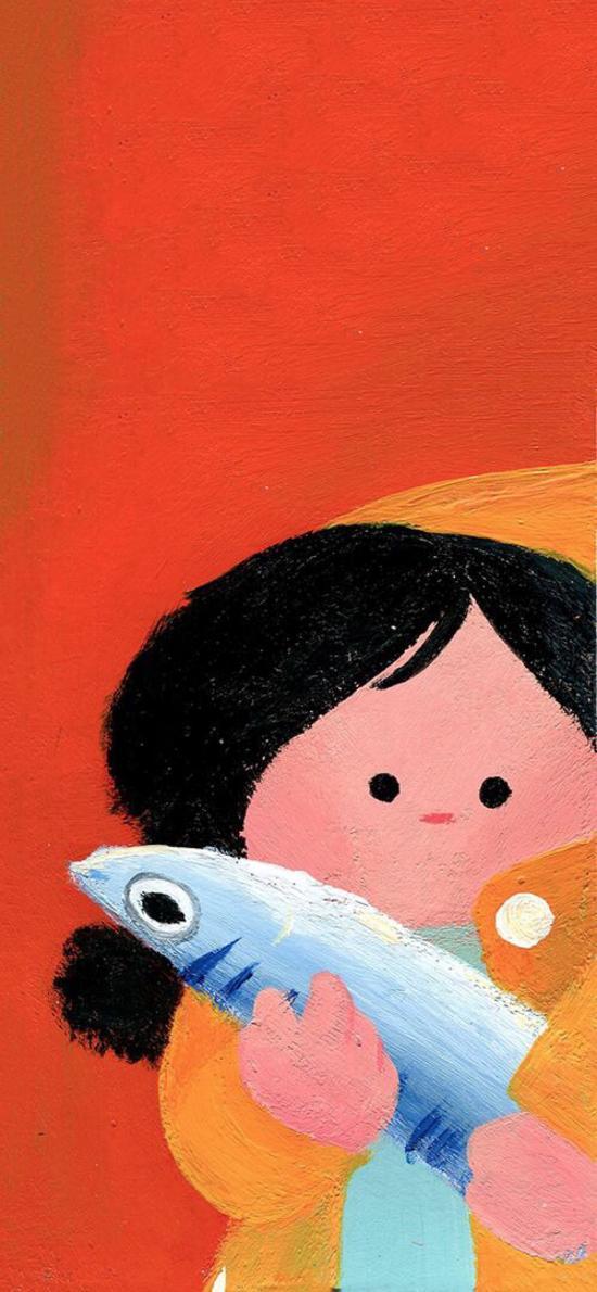 女孩 插畫 手繪 咸魚 色彩