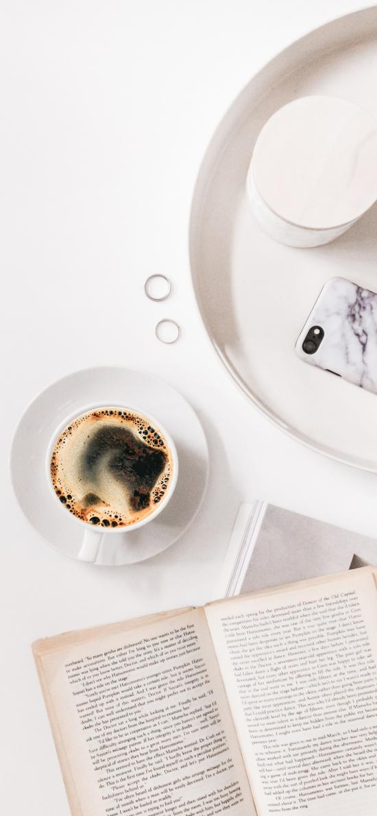 靜物 書本 手機 咖啡