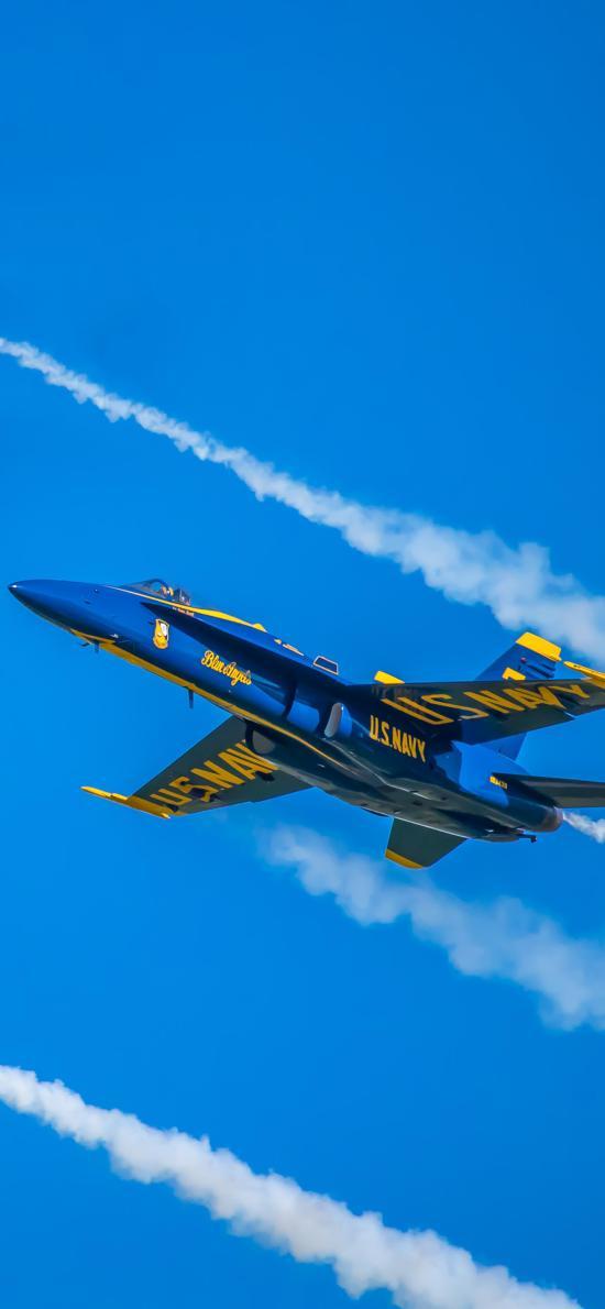 飛機 飛行 航空 戰斗機 藍色 噴霧