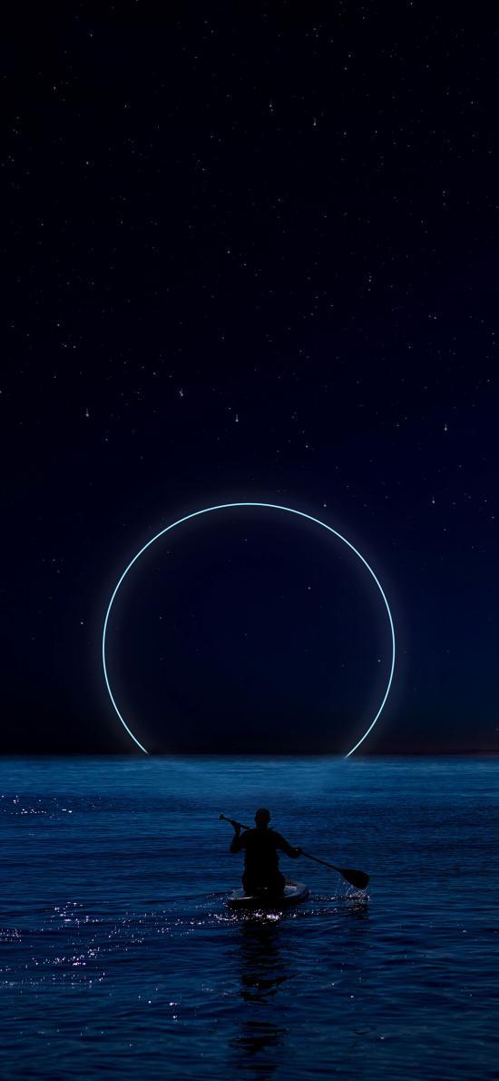 劃船 圓 夜晚 星空 海水