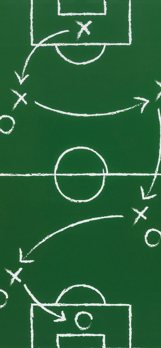 足球 球場圖 綠色 戰略 箭頭