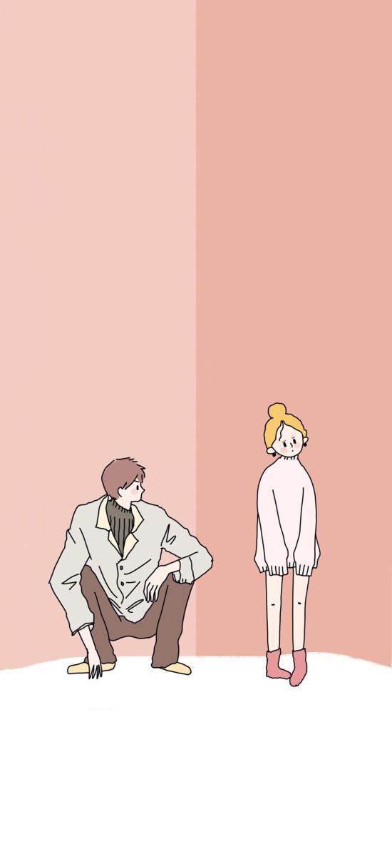 情侶 男女 粉色 插畫