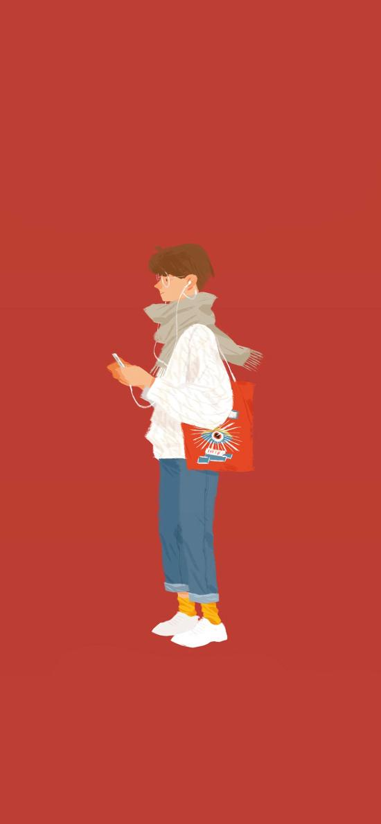 男子 紅色 潮服 插畫