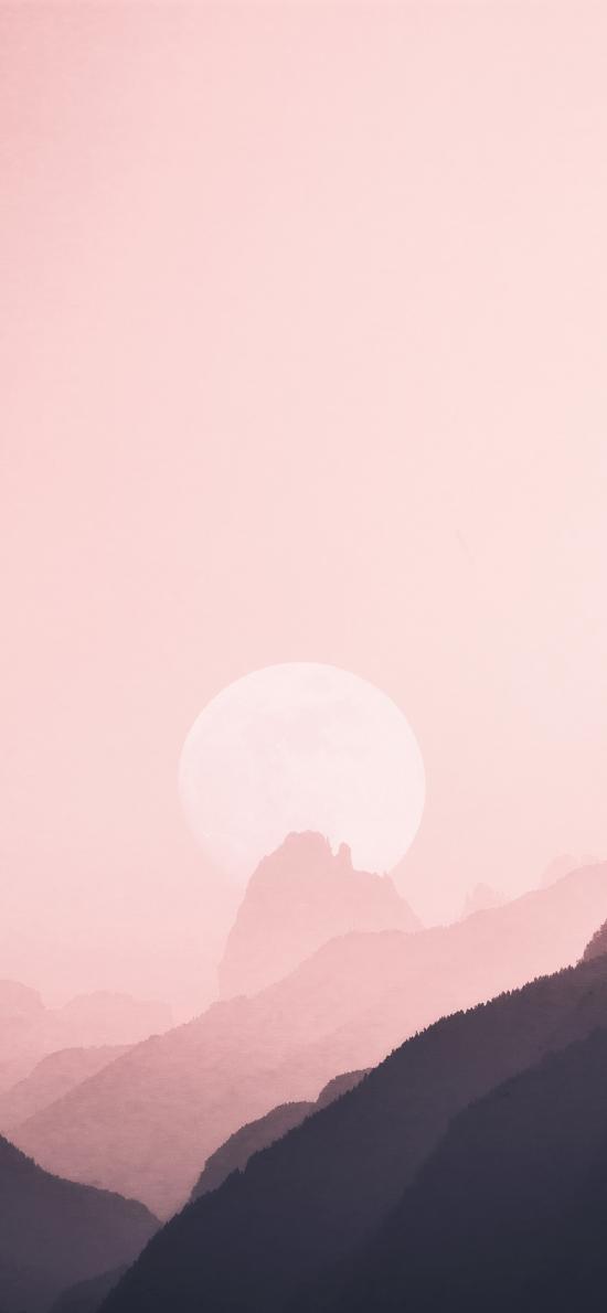 風景 插畫 粉色漸變 山峰