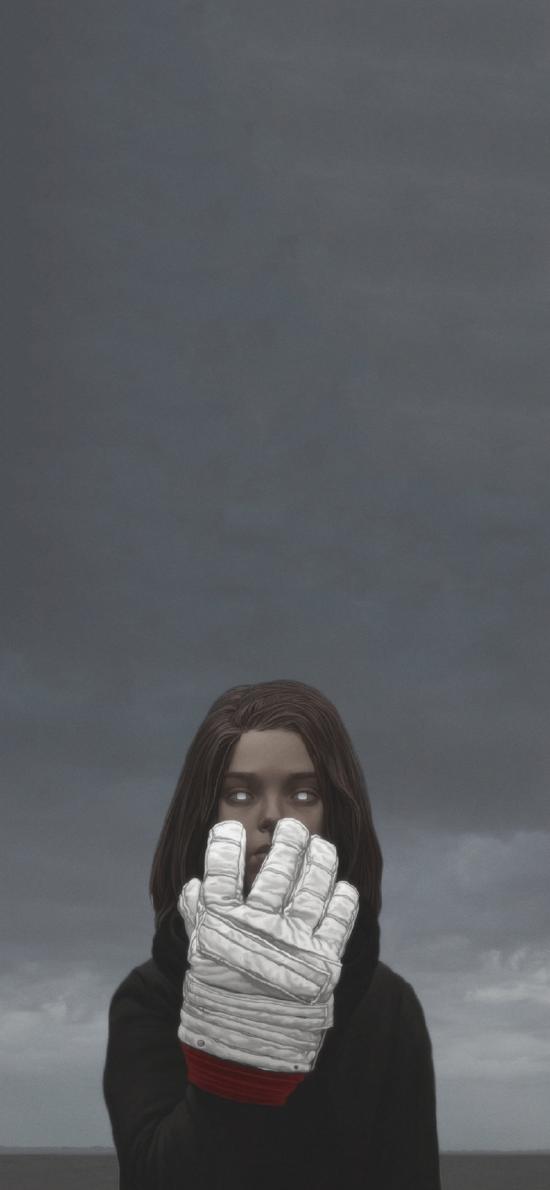 怪誕 插畫 女孩 手套