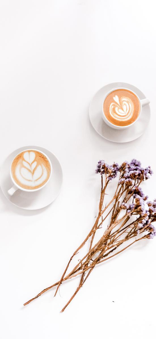 咖啡 干花 裝飾 拉花