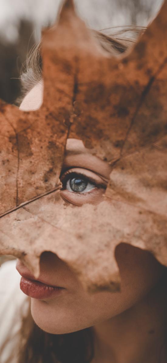 落叶 欧美美女 眼睛 特写