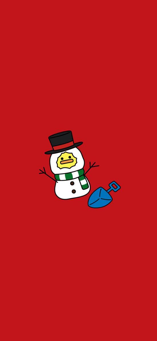 雪人 夏萌猫 红色 铲子 寒冷
