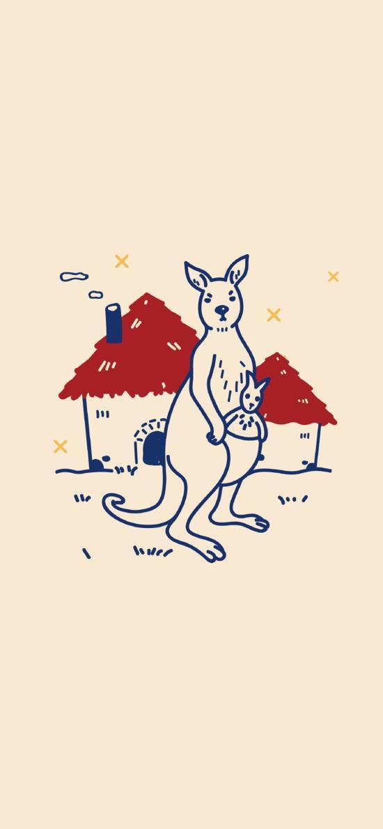 簡筆畫 插畫 袋鼠 可愛