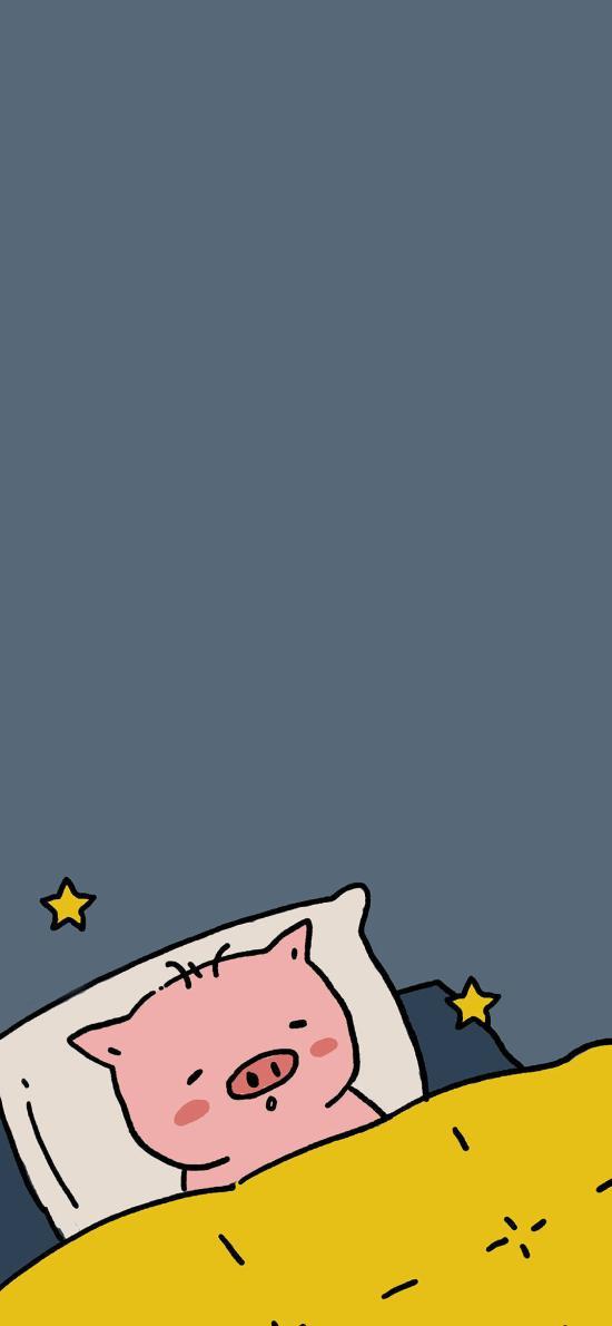 情侶壁紙 可愛 睡眠 星星  豬