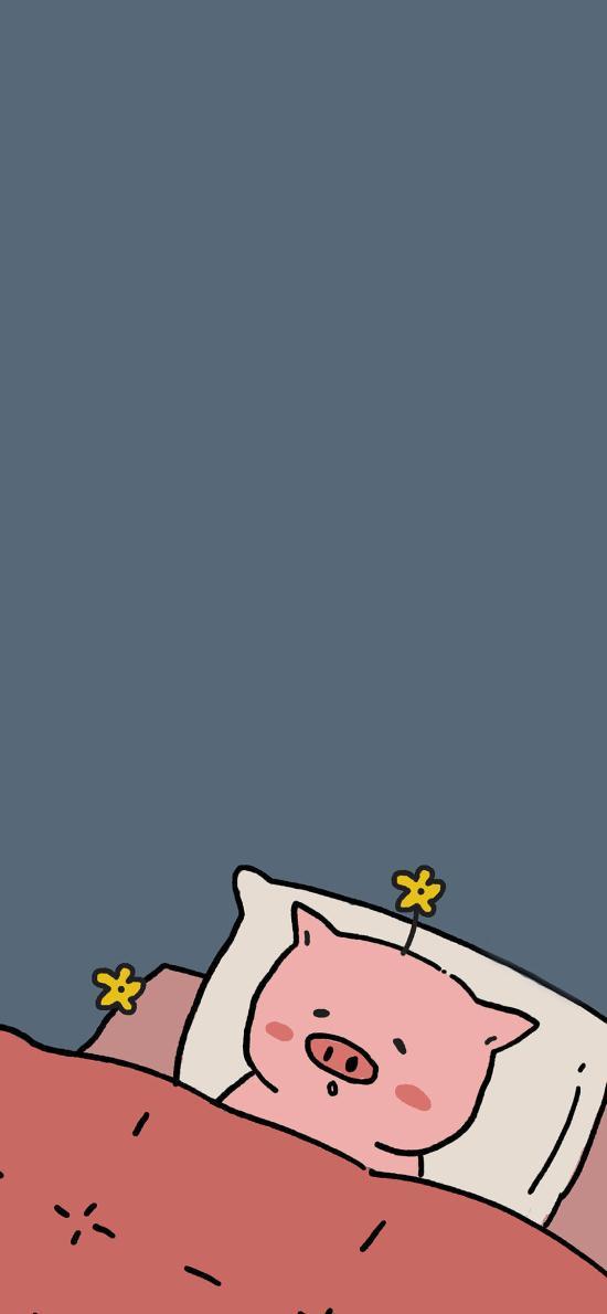 情侶壁紙可愛 睡眠 小花 豬