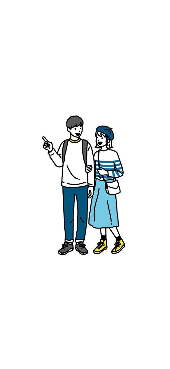 情侶 愛情 浪漫 插畫 挽手