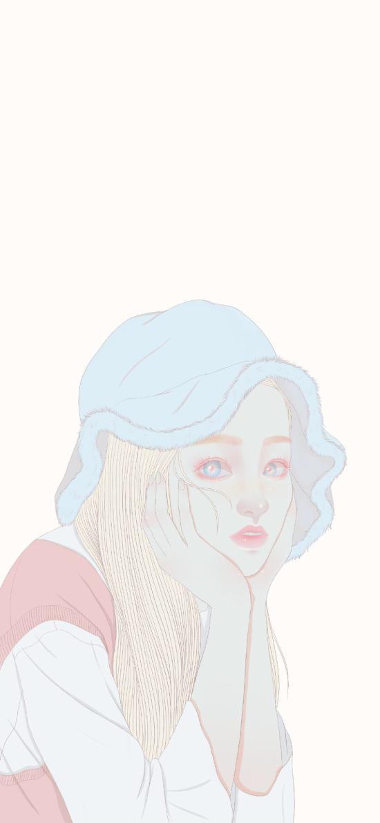 女孩 插畫 帽子