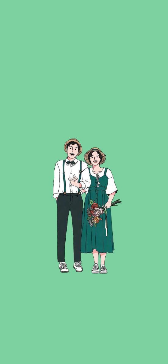 情侶 愛情 浪漫 插畫 花束 綠色