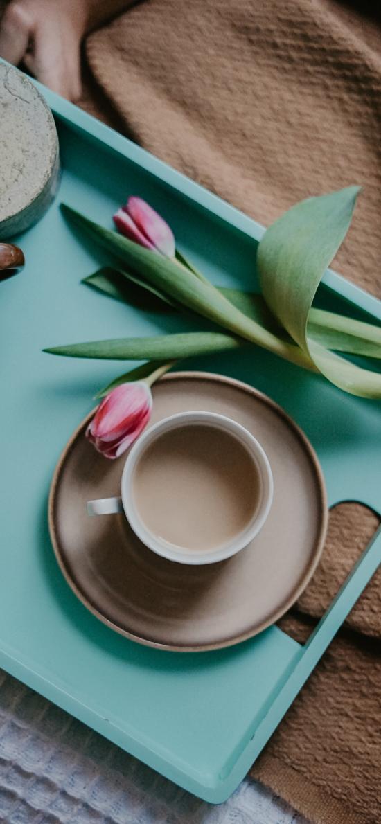 静物 郁金香 咖啡 奶茶 托盘