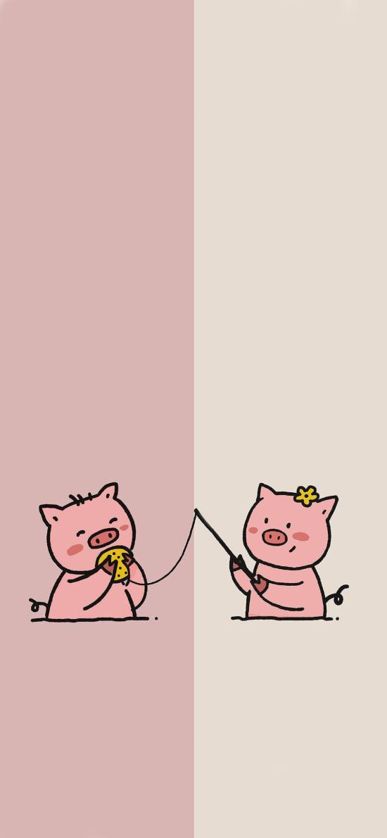 卡通 猪 对话框 可爱 情侣