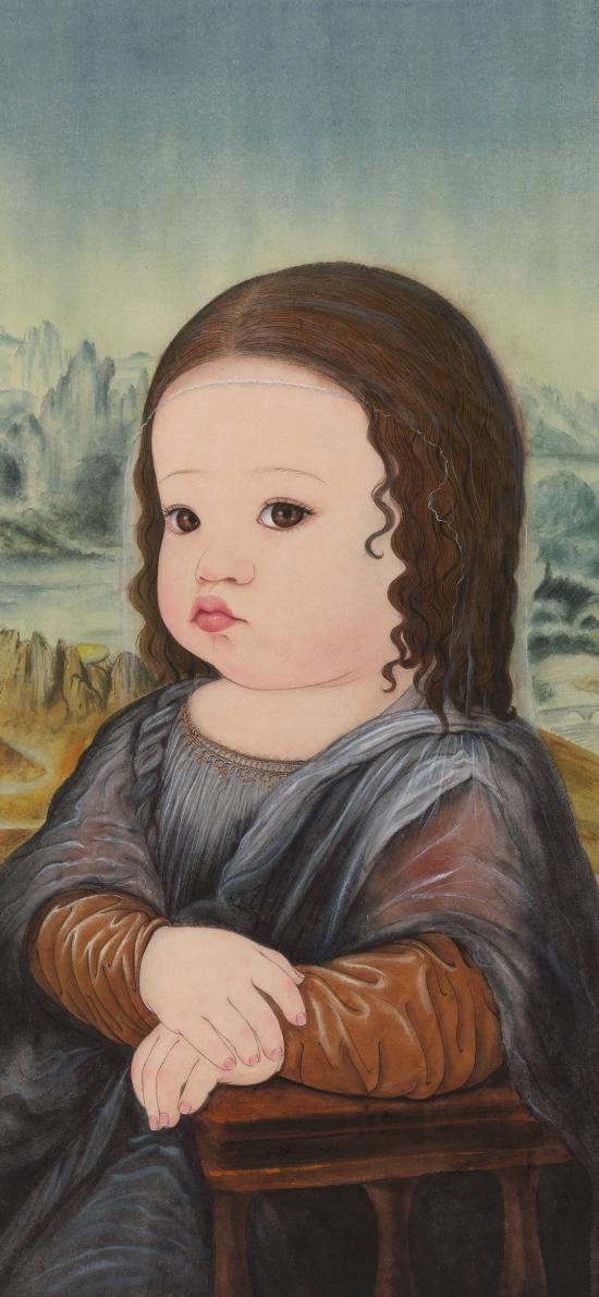 萌娃 小女孩 蒙娜丽莎 插画 插画师那小先