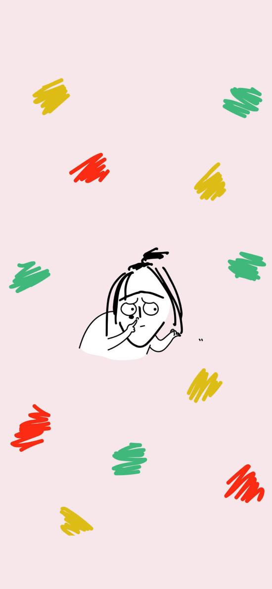 粉色背景 卡通 女孩 UGLY BABY