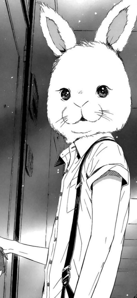 二次元 动漫 兔子 头套 黑白